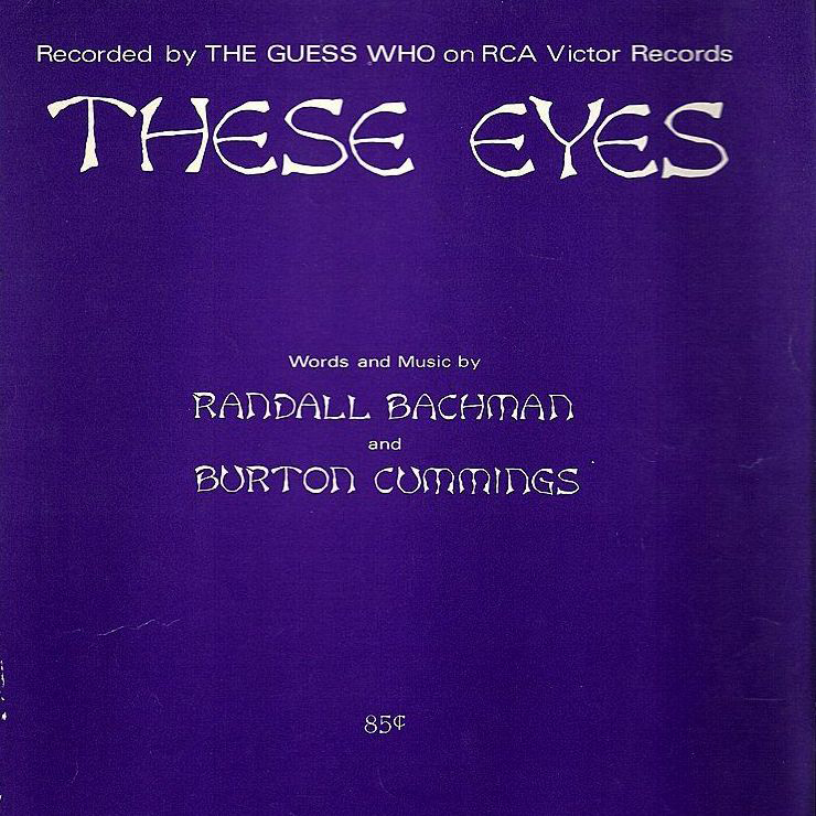 "1969 The Guess Who ""These Eyes"" Sheet Music"