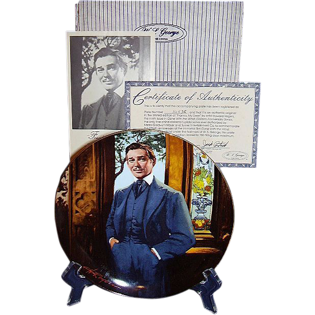 Gone With The Wind Rhett Butler Frankly My Dear Golden Anniversary Collector Plate Ninth Issue WS George 1989