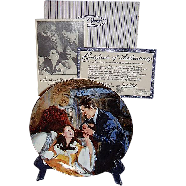 Gone With The Wind Scarlett and Rhetts Honeymoon Golden Anniversary Collector Plate Twelfth Issue WS George 1990