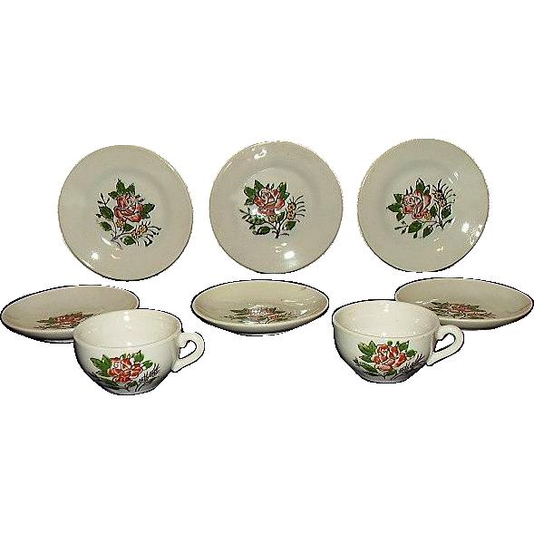 Porcelain Childs Tea Set Cups, Plates, Saucers JAPAN