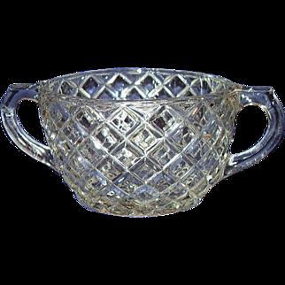 Hocking Waterford Waffle Open Sugar Bowl Depression Glass