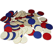 Vintage Cardboard  Poker Chips Grouping 103  Red, White, Blue with Ship Steering Wheel Design