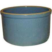Blue Salt Glaze Stoneware Butter Crock