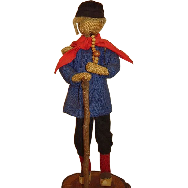 Folk Art Man with Clogs, Walking Stick, Basket Backpack, German