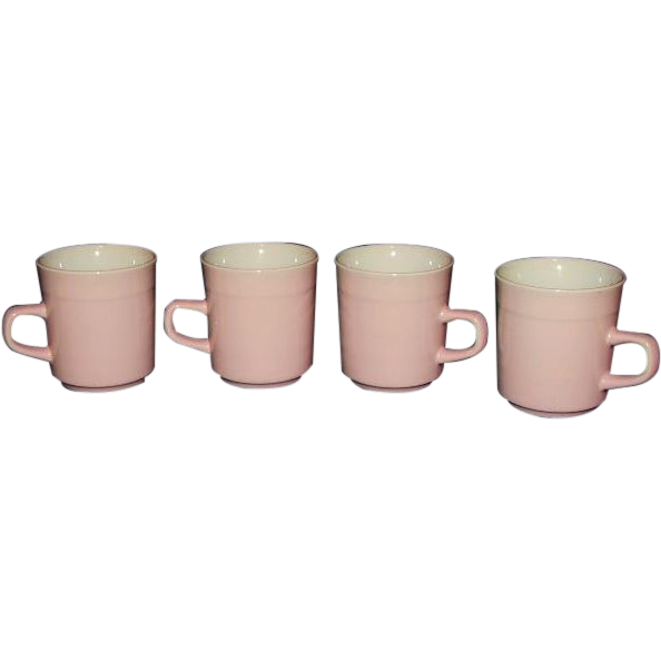 Pink Stoneware Mugs, Set of 4  Made in Japan