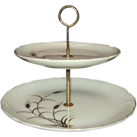 Lipper & Mann 2 Tier Tidbit Tray Server Golden Wheat Pattern