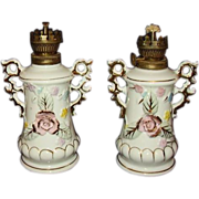 ELVIN Japan Mini Oil Lamps Matching Pair Hand Painted Pink Roses