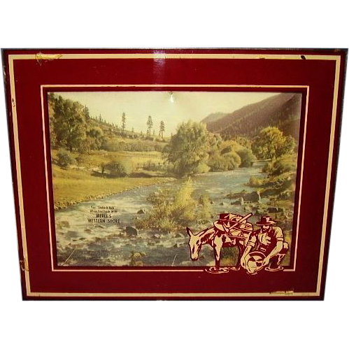 Western Store Advertising Gold Miner Silhouette Shadowbox