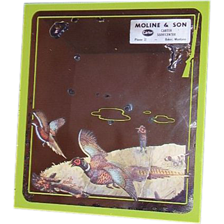 Montana Western Advertising Mirror,  Pheasants, Hunter, Pointer Dog