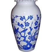 Anchor Hocking W53 Hoover Vase Blue Oriental Garden White Vitrock 1940s