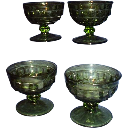 Indiana Glass Whitehall Footed Sherbets, Set of 4 Olive Green