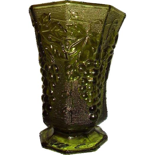 Anchor Hocking Paneled Grape Avocado Green Footed Vase