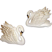 Miller Chalkware Swan Wall Plaques 1968