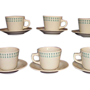 Homer Laughlin Restaurant Ware Cups Saucers Turquoise Geometric Best 6 sets