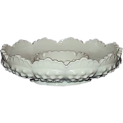 Fenton Milk Glass Hobnail Footed Candle Bowl