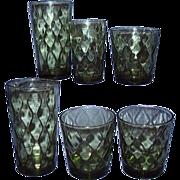 1970s Avocado Green Wavy Diamonds Beverage Glasses ~ Assorted Sizes