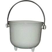 Milk Glass Three Toed Bucket with Bail Handle ~ Unique!
