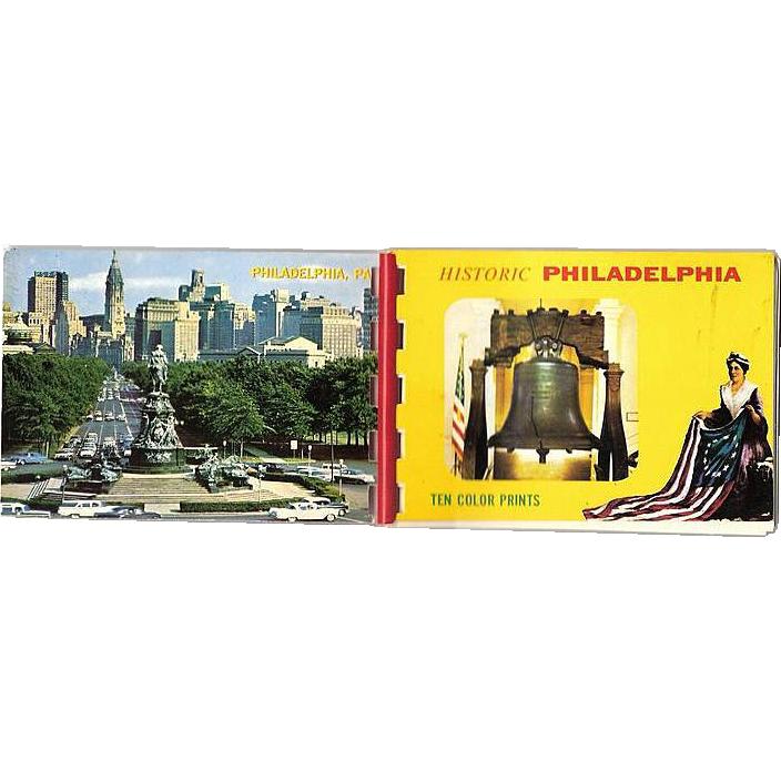 Philadelphia Souvenir Folder 10 Historic Color Miniature Photos 1950-60s