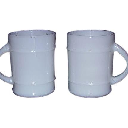 Fire King Large Ribbed Mugs Pair - Solid White