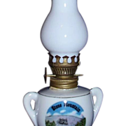 Mini Oil Lamp Stone Mountain Souvenir ~ Milk Glass Chimney ~ JAPAN
