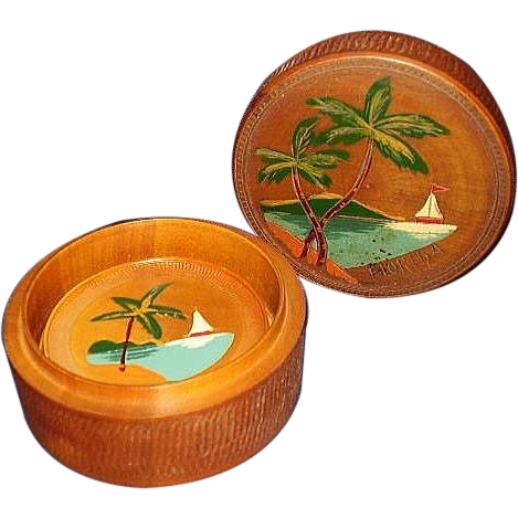 Teak Engraved Handpainted Coaster Set Florida Souvenir JAPAN