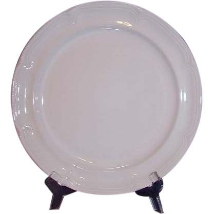 "International Sunmarc Triple White Stoneware Chop Plate ""Placid"" Japan"