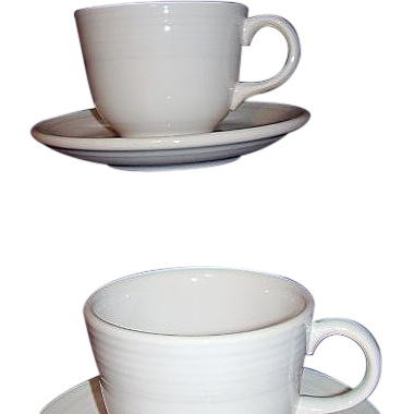 Fiesta Homer Laughlin White Cups and Saucers Two Sets 1980s