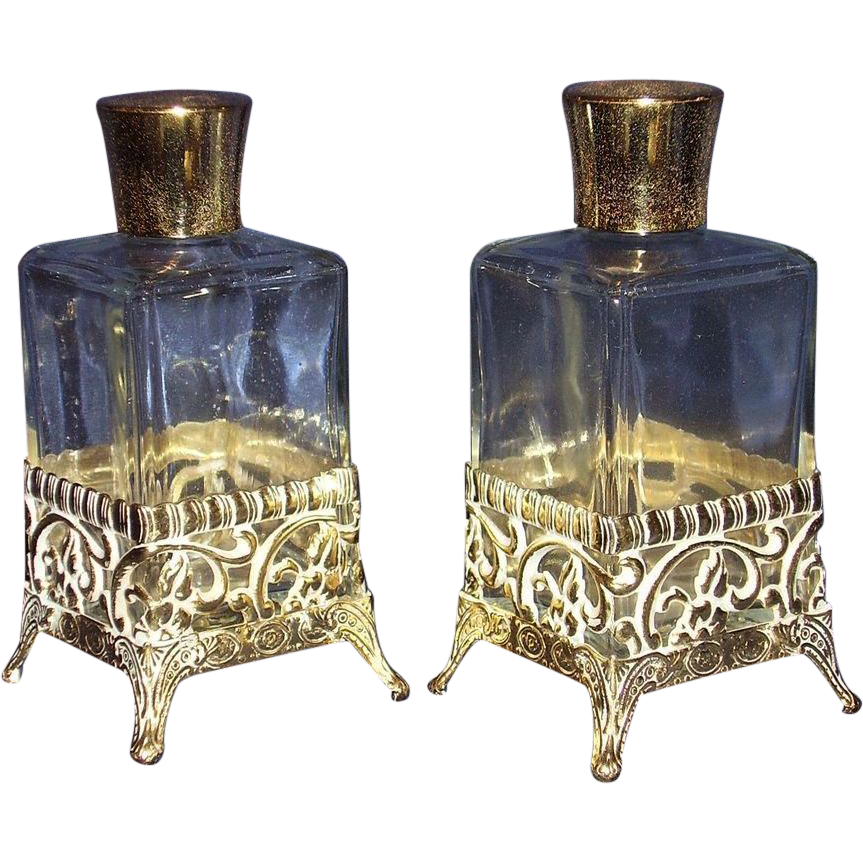 Vanity Perfume Bottles Gold-Tone Filigree Metal Overlay Base Matching Pair