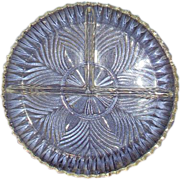 Divided Glass Relish Dish Pressed Swirl Design