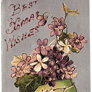 1900s Christmas Glitter Post Card BB London Saxony