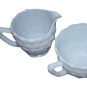 Jeannette Glass White Cube Open Sugar and Creamer Set
