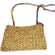 1960s Wooden Bead Shoulder Bag Purse Gold Tone Chain and Bead Strap - Made In Japan