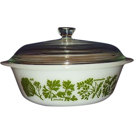 "Glasbake ""Garden Herb"" 2 Quart Covered Casserole Dish"