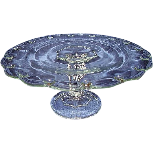 Indiana Glass Teardrop Pattern Cake Stand Scalloped Edge