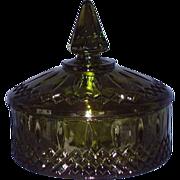 Indiana Glass Princess Avocado Green Candy Dish 1970s