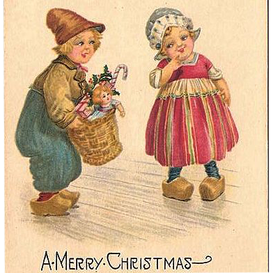 1925 Christmas Postcard with Dutch Boy and Girl