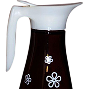 1970s Retro Brown Glass Syrup Pitcher Groovy  White Flower Design