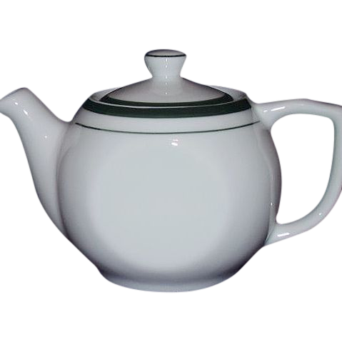 Reading Restaurant Ware Individual Tea Pot White Green Trim