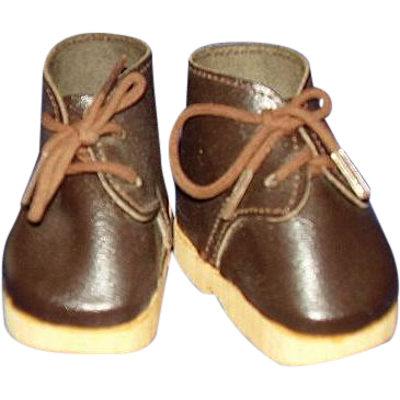 Lace Up Doll Shoes Brown Faux Leather with Thick Tan Resin Soles