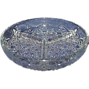 Daisy and Button Clear Glass 3-Section Divided Dish