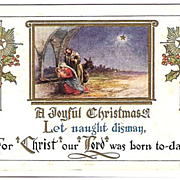 1915 Embossed Christmas Post Card ~ Nativity Scene