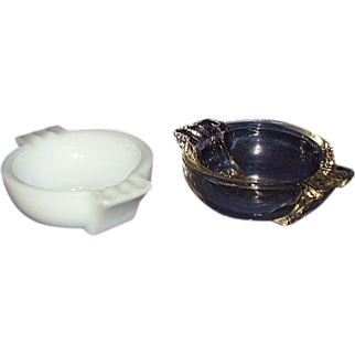 Art Deco Style Glass Ashtrays ~ Clear and Milk Glass Pair