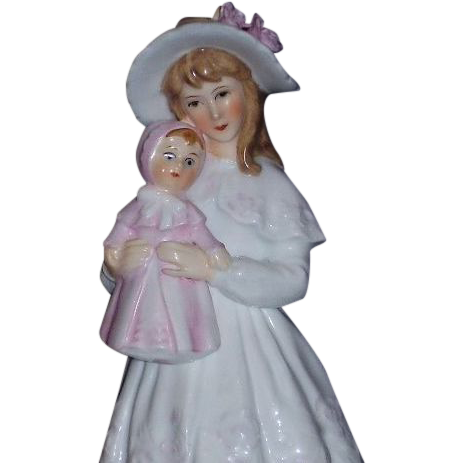 "Gorham Bone China Maruri 19th Century ""Young Lady with her Doll""  Figurine"