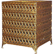 Vanity Goldtone Metal Filigree Square Tissue Box Holder