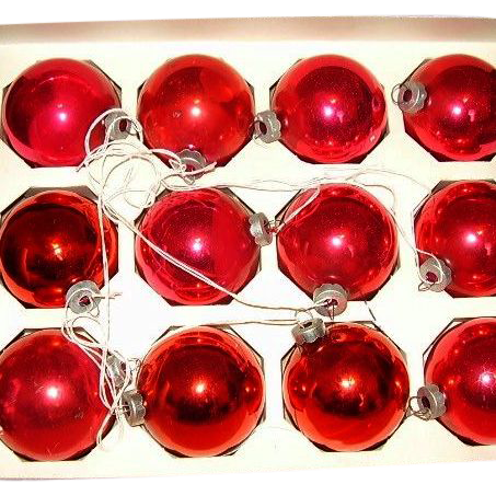 Vintage Christmas Rauch Industries Pyramid RED Glass Ornaments