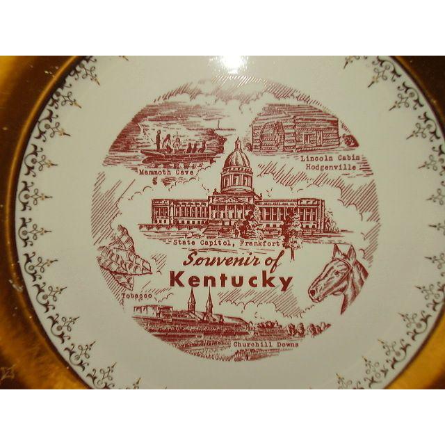 Kentucky State Souvenir Plate Sabin Crest-O-Gold 22 K Border