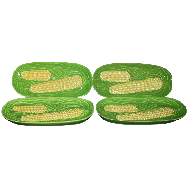 Corn on the Cob Serving Dishes Set of 4 1950s Japan