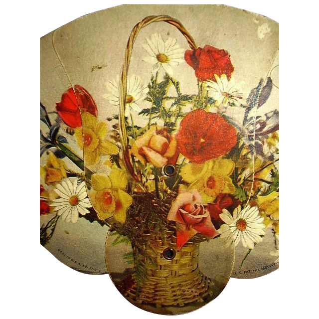 Advertising Fan U.O. Colson Litho Wicker Basket Spring Flower Bouquet 1928