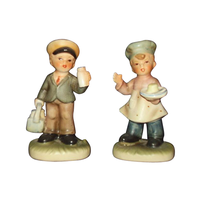 Napcoware Village Children Baker Boy and Milkman Figurines C-8811