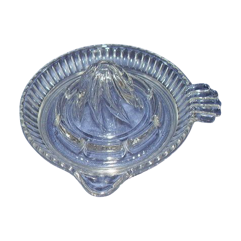 Clear Glass Reamer Juicer Ribbed Pattern and Tab Handle